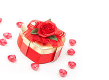 Giftbox with red rose Stock Photos