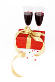 Giftbox and red wine Royalty Free Stock Image