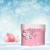 Giftbox rosa, motivo di natale Immagine Stock