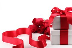 Giftbox and rose Royalty Free Stock Photo
