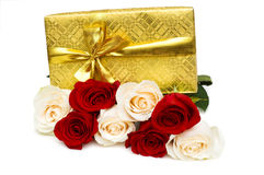 Giftbox and rose isolated Stock Photography