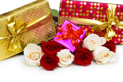 Giftbox and roses isolated Stock Image