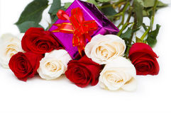 Giftbox and roses isolated Stock Photos