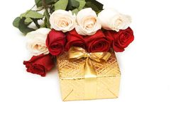 Giftbox and roses isolated Stock Photo