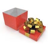 Giftbox rosso quadrato vuoto su bianco 3D illustrazione, percorso di ritaglio Immagini Stock Libere da Diritti