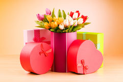 Giftbox and tulips on the gradient background Stock Image