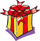 Giftbox. A vector illustration of a yellow and red giftbox Stock Photography
