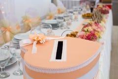 Giftbox с украшением для wedding Стоковые Изображения RF