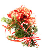 Giftbox and xmas tree branch Royalty Free Stock Images