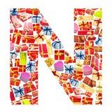 giftboxes помечают буквами сделанный n Стоковая Фотография