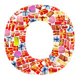 giftboxes помечают буквами сделанный o Стоковые Изображения
