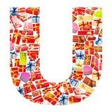 giftboxes помечают буквами сделанный u Стоковая Фотография RF