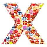 giftboxes помечают буквами сделанный x Стоковое Изображение