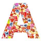 giftboxes помечают буквами сделано Стоковая Фотография RF