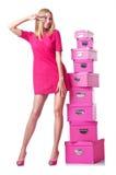 有giftboxes的妇女 免版税图库摄影