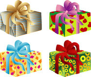 Giftboxes. Vector illustration of four giftboxes Royalty Free Stock Photo