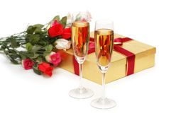 Giftboxes and champagne Royalty Free Stock Images