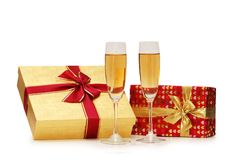 Giftboxes and champagne Stock Photo