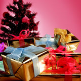Giftboxes and christmas tree Stock Photo