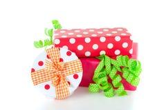 Giftboxes colorido adornados Fotos de archivo