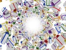 Giftboxes die tunnel vormt Royalty-vrije Stock Afbeeldingen