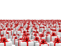 Giftboxes on the endless plane Royalty Free Stock Photography