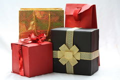 Giftboxes and giftbags Royalty Free Stock Photos