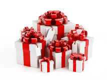 Giftboxes isolerade på vit Royaltyfria Bilder