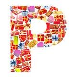 giftboxes letter gjort p Royaltyfri Bild