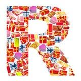giftboxes letter gjort r Arkivfoton