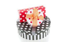 Giftboxes punteados coloridos Imágenes de archivo libres de regalías