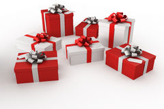 Giftboxes rojos y blancos Fotos de archivo libres de regalías