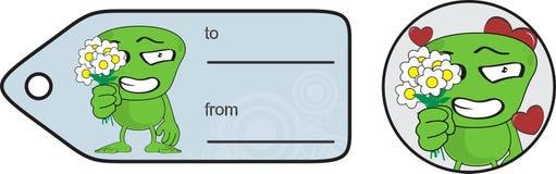 外籍人表示动画片giftcard花 免版税库存照片
