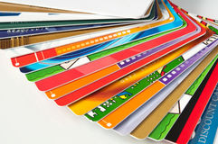 Giftcards and credit cards Stock Images