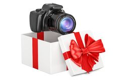 Giftconcept, digitale camera binnen giftdoos het 3d teruggeven Royalty-vrije Stock Afbeelding