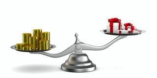 Giftdoos en contant geld op schaal Stock Fotografie