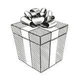 Giftdoos, het symbool van de verjaardagsvakantie, realistische schets van de Kerstmis de hand getrokken vectorillustratie royalty-vrije illustratie