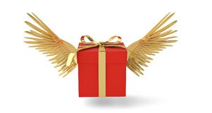Giftdoos met gouden vleugels die doos vliegen 3D Illustratie vector illustratie