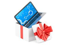 Giftdoos met laptop, het 3D teruggeven Stock Illustratie