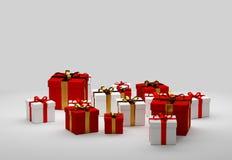 Giftdoos met lint 3d-illustratie Stock Fotografie
