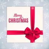 Giftdoos met realistische rode boog en lint voor vrolijke Kerstmis en nieuw jaarontwerp Royalty-vrije Stock Foto's