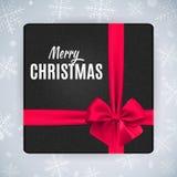 Giftdoos met realistische rode boog en lint voor vrolijke Kerstmis en nieuw jaarontwerp Stock Foto