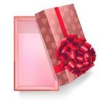 Giftdoos met roze lintbloem en het vector 3d pictogram van het hartpatroon Stock Foto's