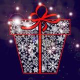 Giftdoos van sneeuwvlokken met een boog en fonkelingen Royalty-vrije Stock Afbeeldingen