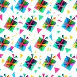 Giftdoos, vector naadloos patroon Nieuwjaar of Kerstmisbackgro Stock Foto's