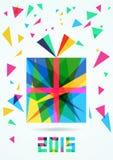 Giftdoos, vectorillustratie, Nieuwjaar of Kerstmisgroetca Stock Foto's