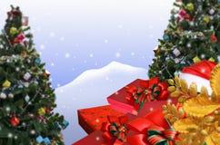 Giften en mooie bomen voor Kerstmisviering royalty-vrije stock fotografie