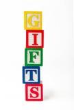 GIFTENstuk speelgoed blokken Stock Foto's
