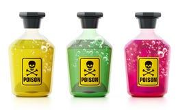 Giftflaschen lokalisiert auf weißem Hintergrund Abbildung 3D Lizenzfreie Stockbilder