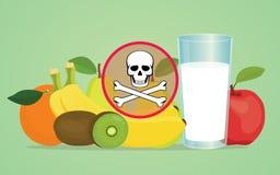 Giftig frukt för gift med skallesymbol stock illustrationer